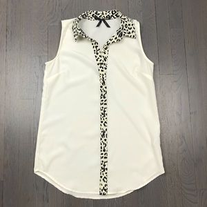 Ali & Kris Animal Leopard Print Henley Blouse Top